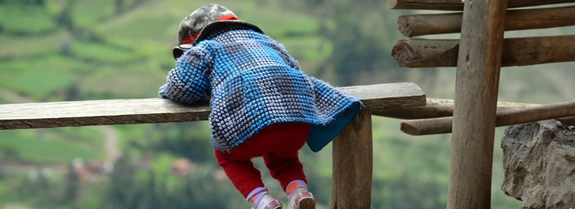 photo of a young girl playing on a fence rail
