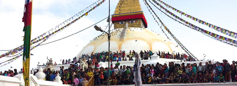 Boudah Stupa, religious site in Buddhist and Hindu religions during a full moon Tibetan New Year (Loshar). (2014)
