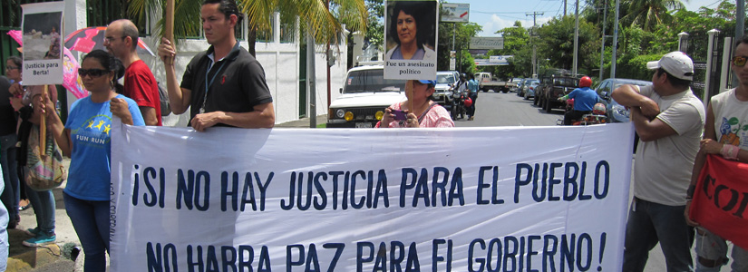 photo of a protest in Nicaragua against the assassination of environmental indigenous activist Berta Caceres in Honduras
