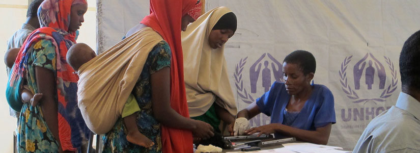 Women refugees arriving in the UNHCR processing centre in the refugee camps of Dadaab, Kenya (2011)
