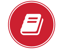 image of a stylized graphic of a book as an icon
