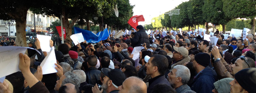 photo of an anti-government protest in Tunis