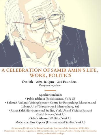 Event poster for the Panel Discussion celebrating Samir Amin's life