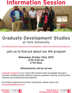 image of a poster promoting October 23 Development Studies Information session in Adobe pdf format