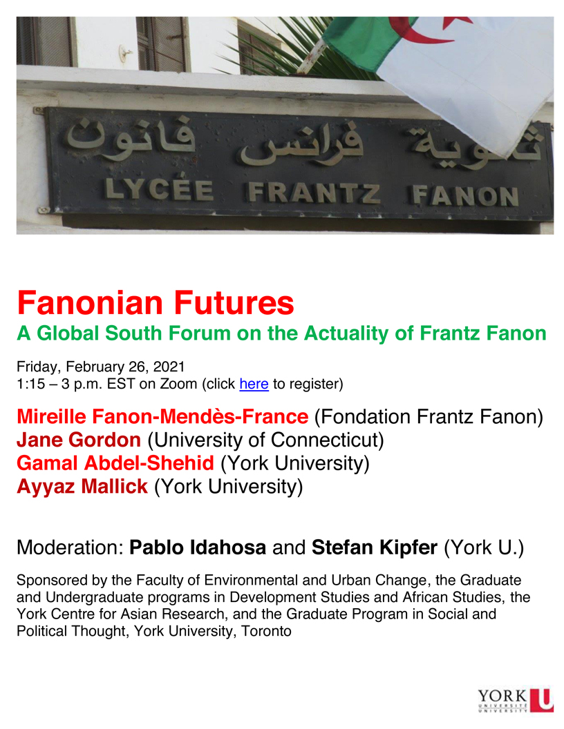 poster promoting the Fanonian Futures panel discussion