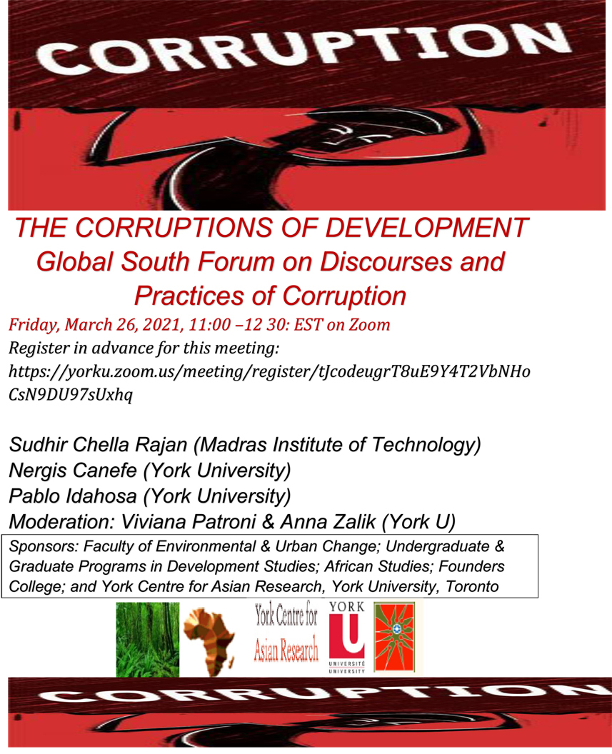 poster promoting the corruptions of development panel discussion