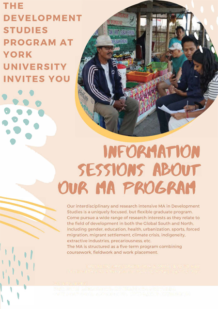 image of the Development Studies information session promotional poster
